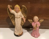 SALE Antique German Paper Mache Christmas Angels, one White, one Pink Vintage Nativity Figures Ornaments