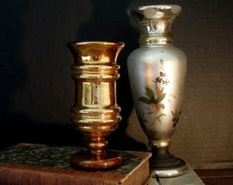 Vintage Gold Mercury Glass Vase / Candle Holder / Goblet / Wedding Gift / Holiday Decor