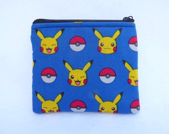 Pokemon  Print Coin Bag // Pikachu // Pokemon Go