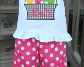 Girls polka dot Pants and Shirt Set outfit Easter Basket applique with monogram. Personalized with name