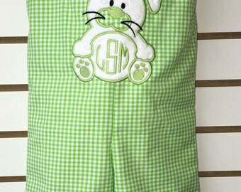 Green and white Gingham Check Boys Easter Bunny Monogrammed Applique Initials Shortall Jon Jon or longall