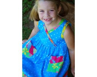 Batik Patchwork Girl Dress, Blue Batik Dress, Toddler Blue Dress, Girls Patchwork Dress, Blue Heart Dress