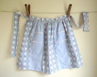 Vintage 1950s Apron | Hand Sewn Half Apron | Blue White Plaid Red Flowers Cotton Kitchen Apron | Double Pocket Apron Ric Rac Trim