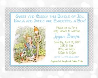 Peter Rabbit Baby Shower Invitation - Boy Baby Shower Invite Beatrix Potter It's A Boy Polka Dots Shabby Chic Gray Blue (Item #7)