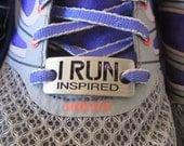 running shoe charm - inspirational running charm - running shoe tag - I RUN Inspired