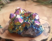 Rainbow Aura Amethyst Cluster - Awesome Decorative Accent for your Terrarium or Fairy Garden - , Terrarium Supplies, Rocks and Minerals