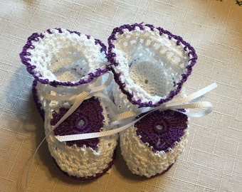 Custom Crochet Baby Shoes Size 0-3 Months Booties