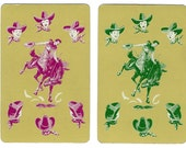 RODEO PRACTICE (2) Vintage Single Swap Playing Cards Paper Ephemera Scrapbook