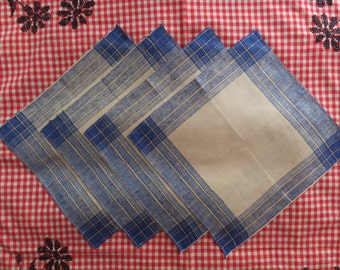 Set of 4 Vintage Blue & Linen White Plaid Cloth Dinner Napkins