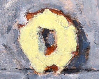 Yellow Frosted Donut- Original Still Life Oil Painting