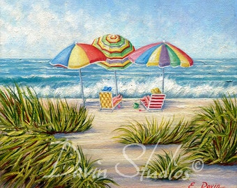 Beach Umbrellas, Girls On The Beach, Seascape Original Oil Painting
