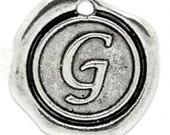 """Add On Initial """"G"""" Charm, personalized letter charm, monogram, Personalized Keychain, Personalized Necklace, antiqued silver plated charm"""