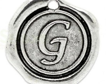 "Add On Initial ""G"" Charm, personalized letter charm, monogram, Personalized Keychain, Personalized Necklace, antiqued silver plated charm"