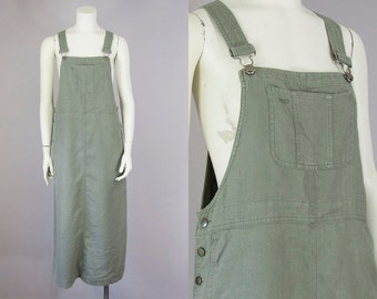 80s Vintage Soft Linen Slouchy Overall  Maxi Dress (S, M)