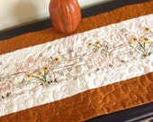 Table Runner, Pumpkins, Sunflowers, Fall, Autumn, Wall Hanging , Fireplace Mantel Decor, Finished Hand Embroidery, Home Decor
