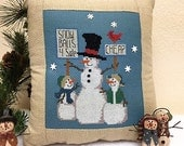Snowmen-Completed Cross Stitch-Finished Cross Stitch-Decorative Pillow-Accent Pillow