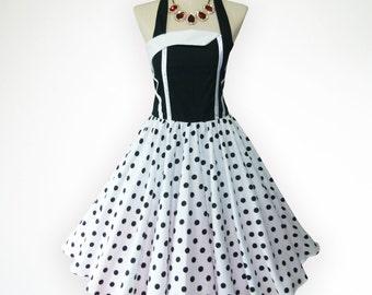 Glamorous Black and White Polka Dot  50s Pin up Rockabilly Swing Dress Full Swing Skirt