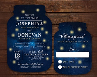Firefly Wedding Invitations, Mason Jar shaped cards, Starry Night Invitations, Under the Stars Wedding, Fireflies, 10 die cut printed cards