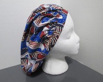 Patriotic All American Tennis Shoes Bouffant Surgical Scrub Cap