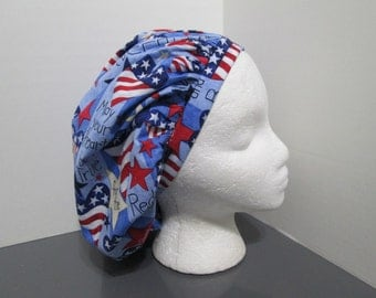 """Patriotic """"May Your Heart be True for the Red, White, and Blue"""" Bouffant Surgical Scrub Cap"""