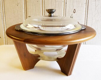Vintage Fire King Silver Band Covered Casserole in Mid-Century Vernco Walnut Cradle - Buffet Serving - Dinner Serving - 1960s