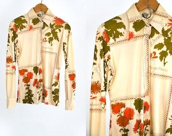 Vintage 70's Chrysanthemum Flower Polyester Button Up Shirt Retro Gardener Women's Size Medium Vtg Vg