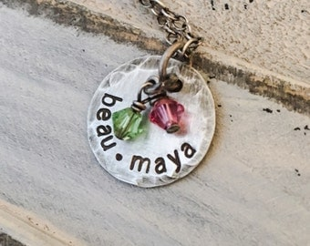 Simple Chic Personalized Birthstone Mommy Necklace ~ Handstamped Jewelry