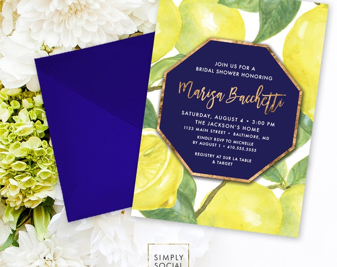 Lemon Bridal Shower Invitation - Fresh Lemon with Navy with Faux Gold Foil Modern Calligraphy Printable Geometric
