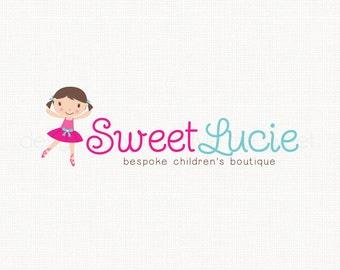 ballet logo design little girl logo boutique logo design photography logo childrens logo design party logo design premade logo design