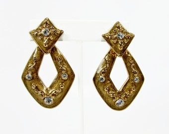 Vintage Door Knocker Earrings, Clip On, Gold Dust Enamel, 1980s Earrings, Rhinestone Earrings, Vintage Jewelry, Hoop Earrings