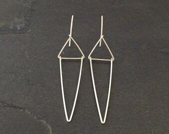 Modern earring; Sterling silver traingle  geometrical earrings dainty; Minimalist jewelry, Art Deco Earrings