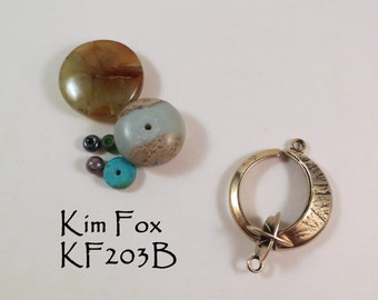Round Bronze Slot Clasp of the Moon and Morning Star, lunar and star symbol clasp suitable for necklace by Kim Fox