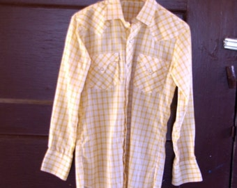 HALF OFF Vintage 1970s Mustard White Checkered Traditional Shirt Long Sleeve Pearl Snap Western 14.5 32 L (i)