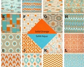 Fitted Crib sheet or Changing pad cover in your choice of prints, Retro Rides, Aqua and Orange