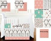 Little Fawn Coral and Grey Custom Crib Bedding