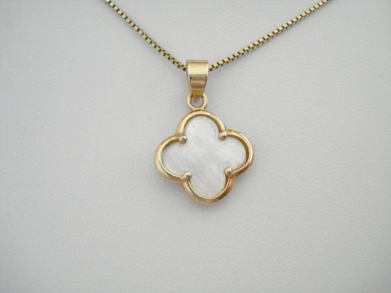 Gold Clover Necklace Quatrefoil Jewelry Van Cleef Inspired
