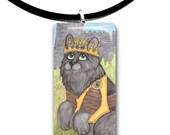 Fluffy, long haired Black cat, Fantasy art glass tile pendant, adorable cat, gray cat, Armor, Knight,