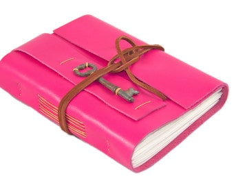 Deep Pink Leather Journal - Leather Journal - Blank Paper - Travel Journal - Leather Bound Journal - Journal - Skeleton Key - Ready to Ship