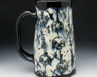 Skull Beer Stein, XL Skulls & Fish Skeletons Tankard, Jumbo Beer Mug