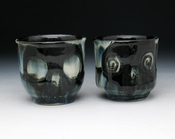 Skull Shot Cup Set, Two Double Black Skulls Painterly Shot Glasses