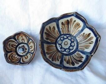 Set of 2 KEN EDWARDS Art Pottery Lotus Petal BOWLS El Palomar - Tonala Mexico