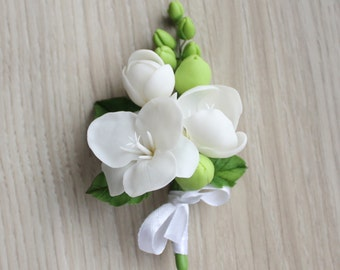 Buttonhole with freesia, boutonniere, wedding accessories, polymer clay freesia, polymer clay flowers, wedding flowers, cold porcelain