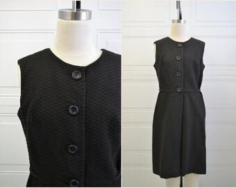 1960s California Girl Black Cotton Waffle Textured Dress