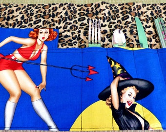Halloween Pin Up Girl Zero Waste Roll Up Placemat Set with Napkins