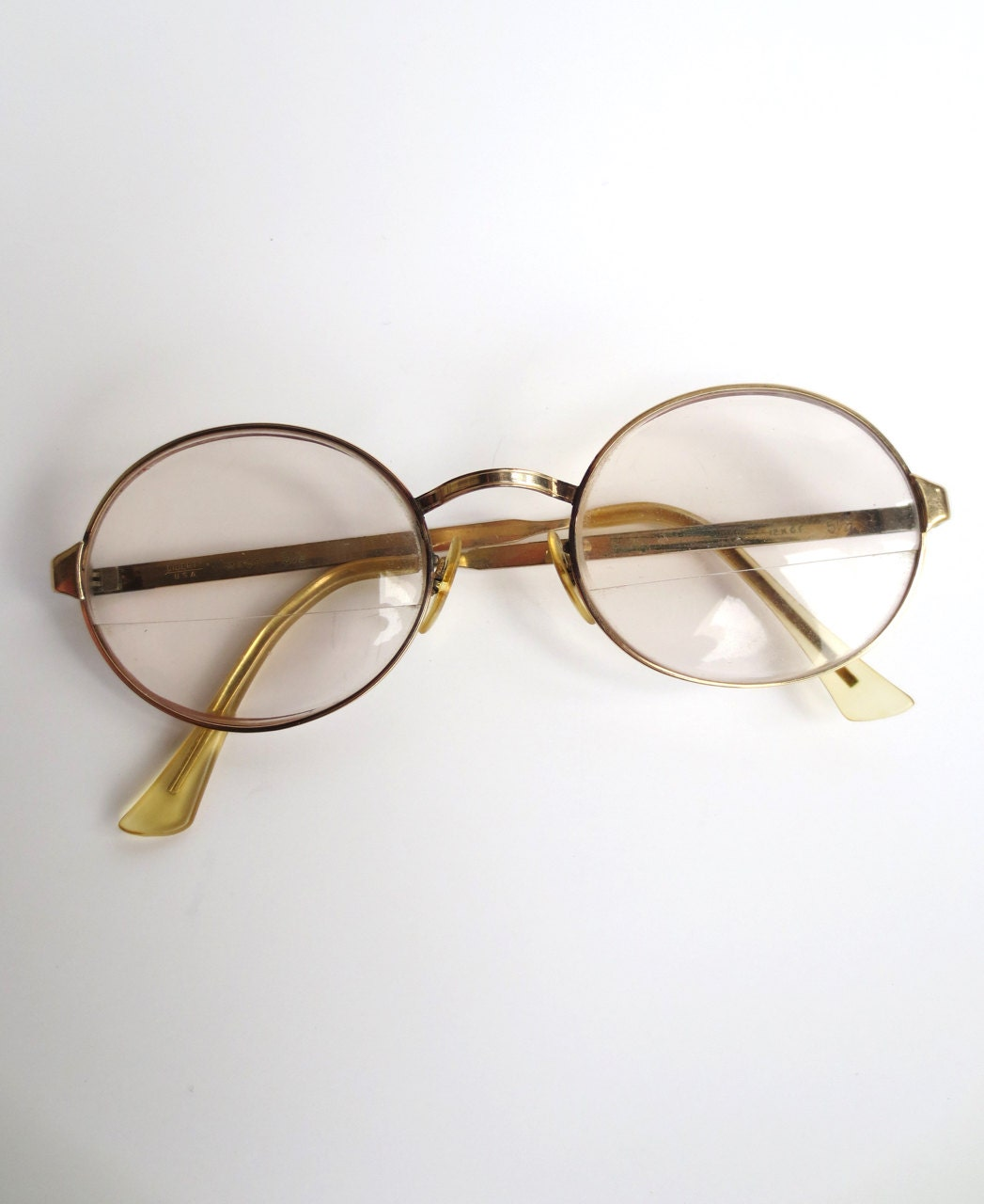 Gold Wire Frame Glasses : groovy 60s spectacles gold wire frame glasses 12K GF eye