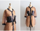 sheer leopard print nightie - ladies 60s dressing robe / 70s leopard print boudoir top - pin up / vintage 70s lingerie - boudoir photo