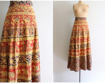 vintage 70s maxi wrap skirt - Indian floral block print skirt / Elephant Parade - paisley print skirt/ 70s hippie skirt - festival