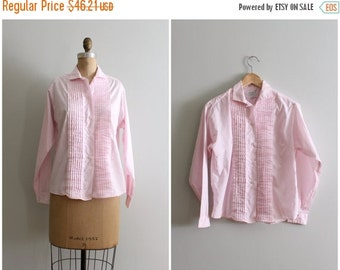 20% SALE NOS with tags 50s blouse - pastel pink pintucked blouse / ladies pastel pink cotton shirt / Sweet Kawaii - vintage 1960s deadstock