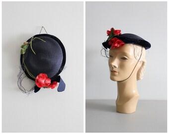 15 DOLLAR SALE! // vintage 40s theater or costume hat - navy blue straw with velvet trim, veil & flower / 1940s straw topper- 50s straw hat