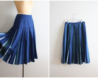 1950s pleated wool turnabout skirt - 50s reversible blue plaid skirt / 50s wool skirt - college girl / vintage preppy knife pleated skirt
